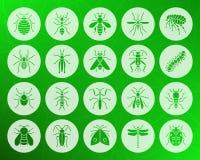 危险昆虫形状被雕刻的平的象传染媒介集合 库存例证