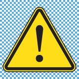 危险标志,危险象,与惊叹号的黄色三角标志 库存例证