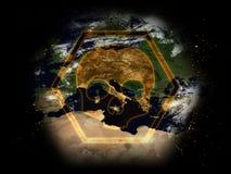 危险标志:地球处于危险中 免版税库存照片