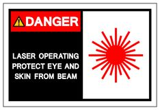 危险激光操作保护眼睛和皮肤免受射线标志标志,传染媒介例证,隔绝在白色背景标签 EPS10 皇族释放例证
