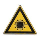危险激光辐射 黄色三角 库存照片