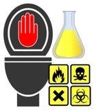 危险物料不击倒洗手间 免版税图库摄影