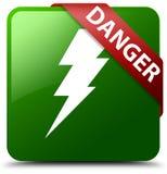 危险电象绿色正方形按钮 库存图片
