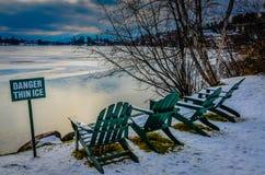 危险稀薄的冰- Mirror湖-普莱西德湖城NY 库存照片
