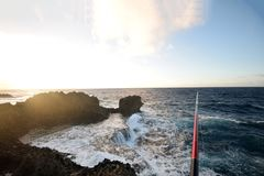 危险钓鱼的问题的日本 库存照片