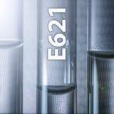 危险食品添加剂味道改进物-在一支医学化验管的味精E621 免版税库存照片