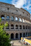 卵形圆形露天剧场在罗马,意大利的中心  库存照片