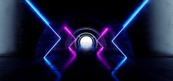 卵形弧具体难看的东西隧道走廊科学幻想小说未来派激光阶段充满活力蓝色紫色发光塑造混乱萤光 库存例证