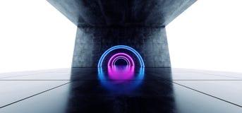 卵形弧具体难看的东西隧道走廊科学幻想小说未来派激光阶段充满活力蓝色紫色发光塑造混乱萤光 皇族释放例证