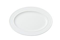 卵形白色空的板材 免版税库存图片