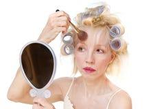 卷发的人妇女 库存照片