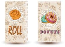 卷和油炸圈饼面包店商店 为餐馆小册子,咖啡馆飞行物,交付菜单完善 图库摄影