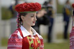 卷扬旗子隆重的仪式在世界曲棍球冠军前 库存照片