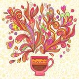 卷曲和蒸汽的茶会杯子 免版税库存照片