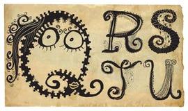 卷曲嬉戏的字母表-手拉的传染媒介-部分:A-E 库存照片