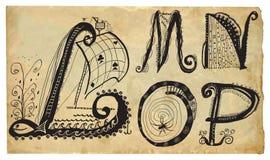 卷曲嬉戏的字母表-手拉的传染媒介-部分:A-E 库存图片