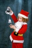 卷曲小的圣诞老人 库存图片
