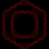 卷曲样式波浪装饰品和框架在红色和黑co的 免版税库存照片