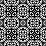 卷曲的线在黑N白色的无缝的样式背景 库存例证