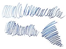 卷毛,蓝线位图铅笔冲程  Grunge?? 图解混乱线 线性创造性的杂乱冲程 库存例证