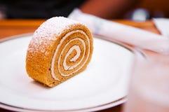 卷蛋糕、瑞士海绵卷与奶油和结冰 库存照片