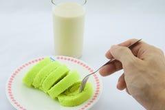 卷蛋糕用豆奶 库存图片