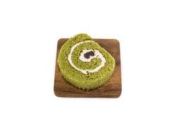 卷蛋糕,绿茶口味 免版税图库摄影