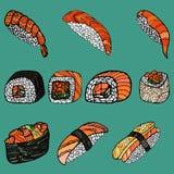 卷设置了寿司 日本食物 手拉的传染媒介illustratio 免版税库存照片