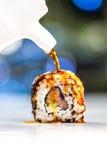 卷调味汁大豆寿司 库存图片