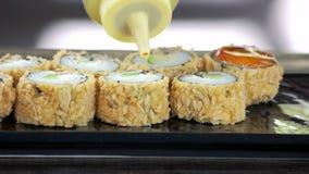 卷调味汁寿司 影视素材