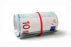卷起的欧元 免版税库存图片