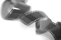 卷起的被暴露的35 mm影片小条 库存照片