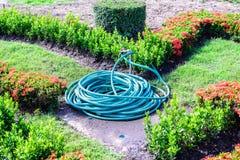 卷起的水水管在庭院里 免版税图库摄影