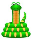 卷逗人喜爱的绿色例证蛇 免版税库存图片