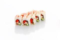 卷,虾,鳗鱼,黄瓜, tobiko鱼子酱 库存照片