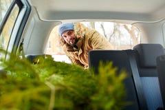 卸载圣诞树的有胡子的人在他的汽车外面后车箱,在看法里面 行家从他的后面得到杉树 免版税库存照片