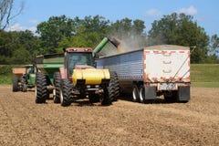卸载大豆的收获机具入跳跃者卡车 免版税库存图片