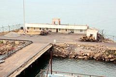 卸载的煤炭货物货物终端由沿海起重机 Tut港  库存图片
