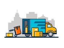 卸载装货卡车 库存例证
