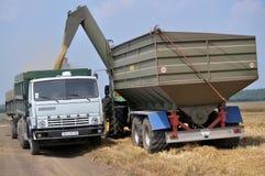 卸载从跳跃者传动机的五谷在truck_3 图库摄影