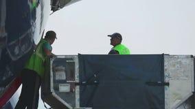 卸载从飞机的行李 股票录像