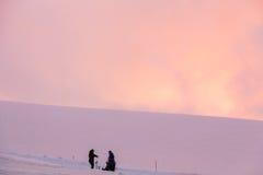 厄尔布鲁士山,俄罗斯,从Garabashi驻地的全景 库存图片