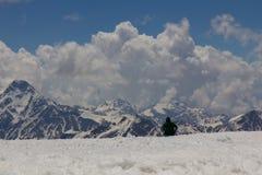2014 07厄尔布鲁士山,俄罗斯:调查距离的一个人到在厄尔布鲁士山倾斜的山  免版税库存图片