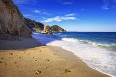 厄尔巴岛海岛,费拉约港Sansone Sorgente海滩海岸托斯卡纳, 图库摄影