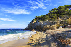 厄尔巴岛海岛,费拉约港Sansone Sorgente海滩海岸托斯卡纳, 库存图片