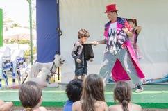 厄梅尔(啤酒舍瓦),以色列-小丑、孩子和两白色长卷毛狗在夏天阶段, 2015年7月25日 库存图片