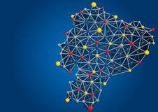 厄瓜多尔共和国的地图由在蓝色背景的色的球形加入的结构管形成了 免版税图库摄影