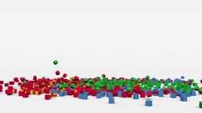 厄立特里亚旗子从3d立方体创造了在慢动作 股票录像