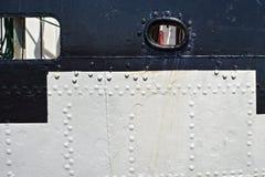历史三桅帆Kruzenshtern预先的帕多瓦的被铆牢的船身在加里宁格勒海港停泊了 库存图片