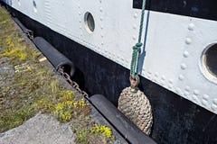 历史三桅帆Kruzenshtern预先的帕多瓦的被铆牢的船身 库存图片
